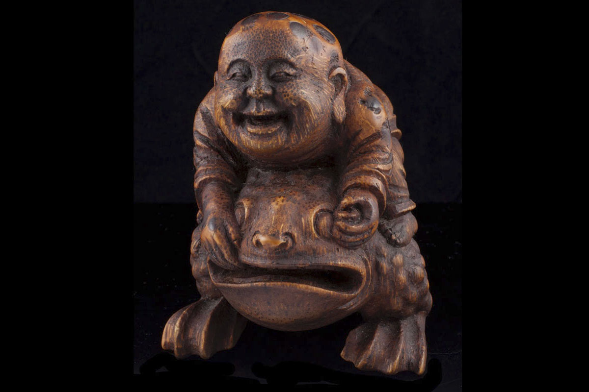 Ming Bamboo boy on toad