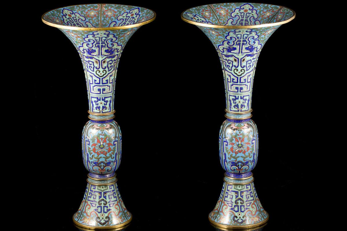 A Qianlong Pair Of Gu Shaped Cloisonne Enamel Vases