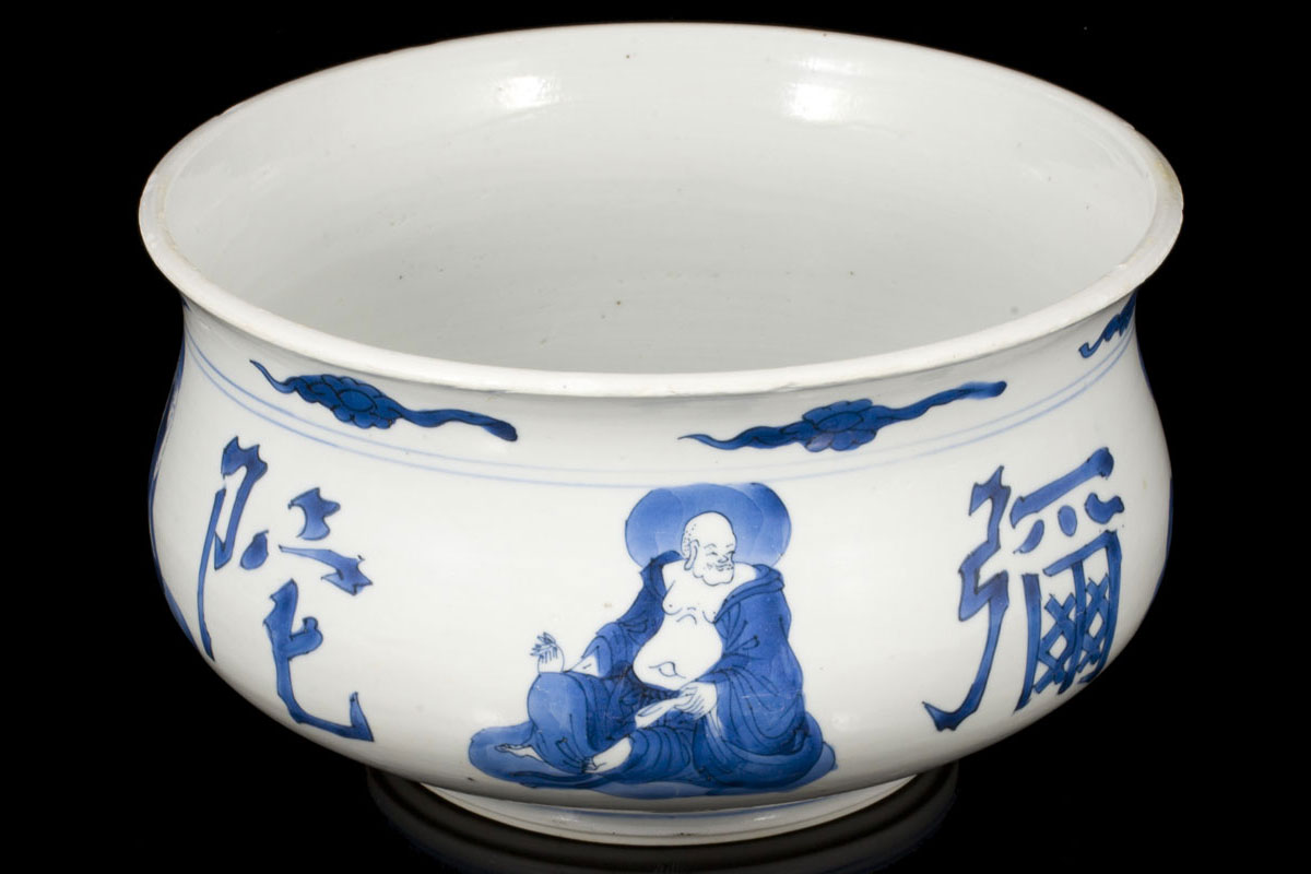 Chinese export Buddhistic figures incense porcelain bowl